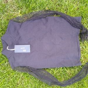 Zara black knit turtleneck with mesh sleeveless M